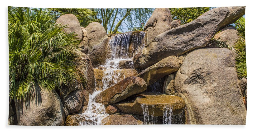 Barbara Snyder Bath Sheet featuring the digital art Falls At Jackalope Ranch by Barbara Snyder