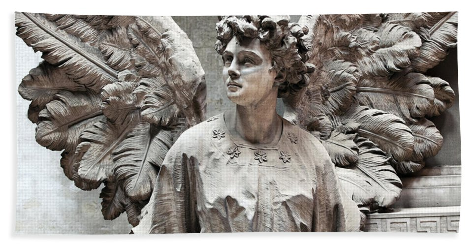 Horizontal Hand Towel featuring the photograph Famiglia Cavaliere Del Francesco Canti Memorial Marker Detail IIi Monumental Cemetery by Sally Rockefeller