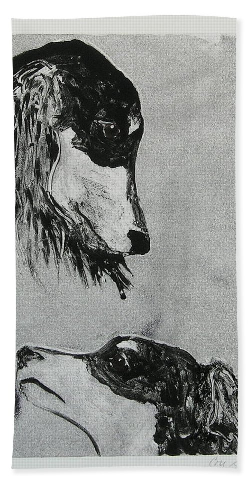 Saluki Hand Towel featuring the mixed media Family Affair by Cori Solomon