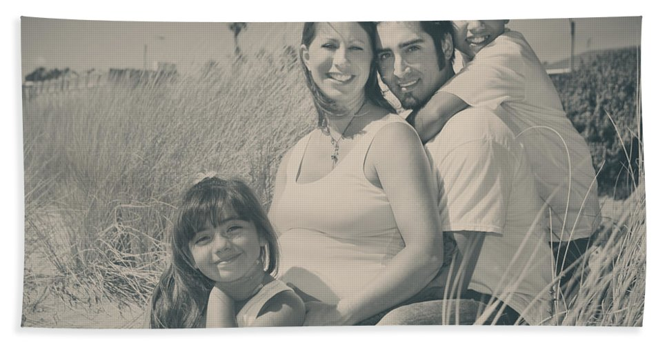 Family Hand Towel featuring the photograph Family Beach Day by Laurie Search