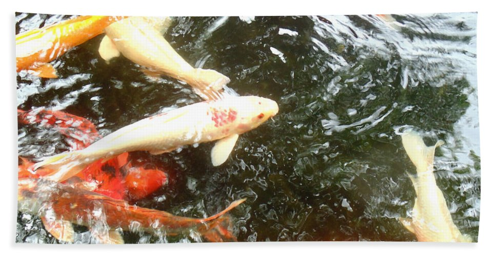 Koi Hand Towel featuring the photograph Family Members 2 by Marcello Cicchini