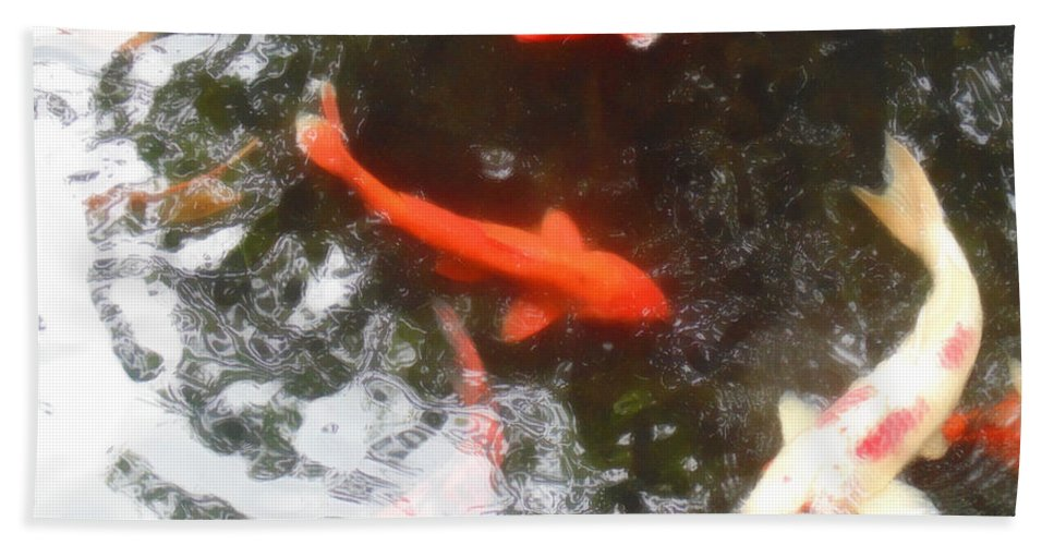 Koi Hand Towel featuring the photograph Family Members 3 by Marcello Cicchini