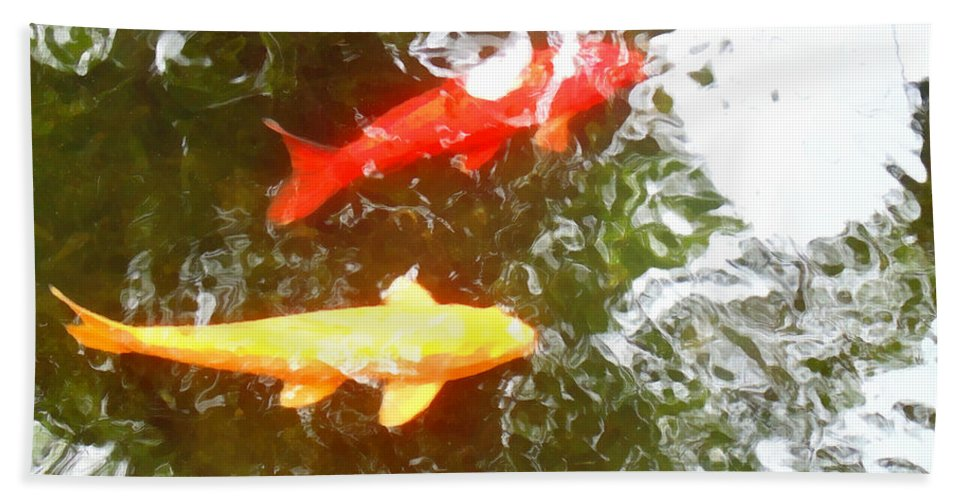 Koi Hand Towel featuring the photograph Family Members 7 by Marcello Cicchini