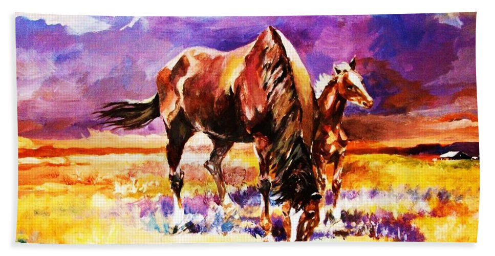 Horses Hand Towel featuring the painting Family Outing by Al Brown