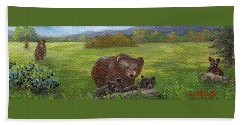 Black Bears Bath Sheet featuring the painting Family Outing by Sharon E Allen