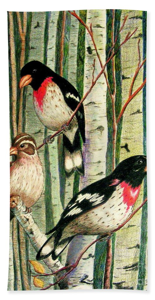 Birds Hand Towel featuring the drawing Family Trio by Marilyn Smith