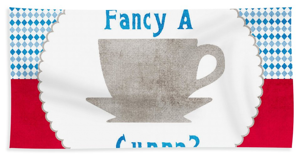 Tea Bath Sheet featuring the painting Fancy A Cup by Linda Woods