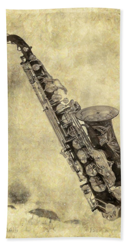 Saxophone Hand Towel featuring the painting Fancy Antique Saxophone In Pastel by Angela Stanton