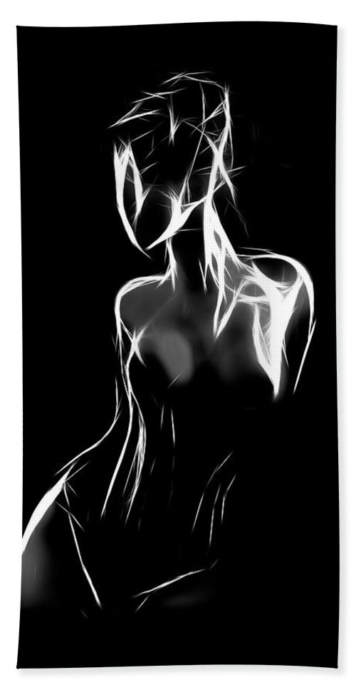 Female Girl Woman Lingerie Boobs Tits Nude Naked Curves Sensual Black White Erotic Seduction Desire Expressionism Hand Towel featuring the painting Fantastic Curves by Steve K