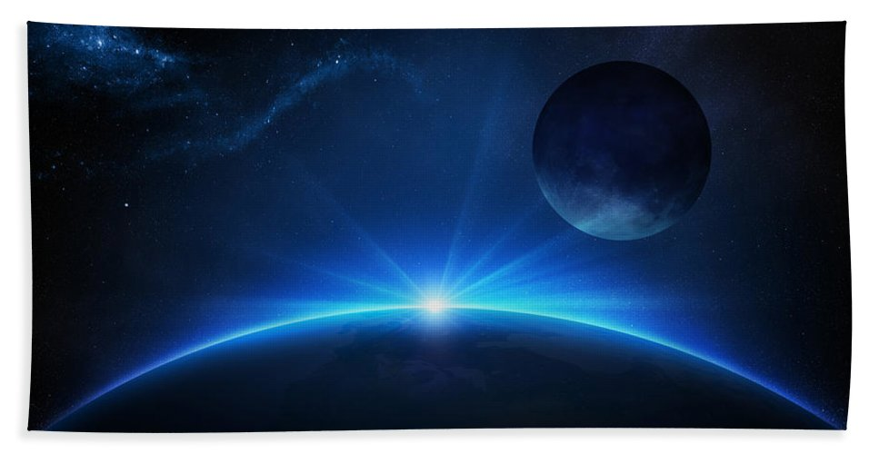 Earth Bath Towel featuring the photograph Fantasy Earth and Moon with sunrise by Johan Swanepoel