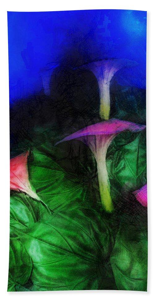 Asia Bath Sheet featuring the digital art Fantasy Flowers Lux by David Lange