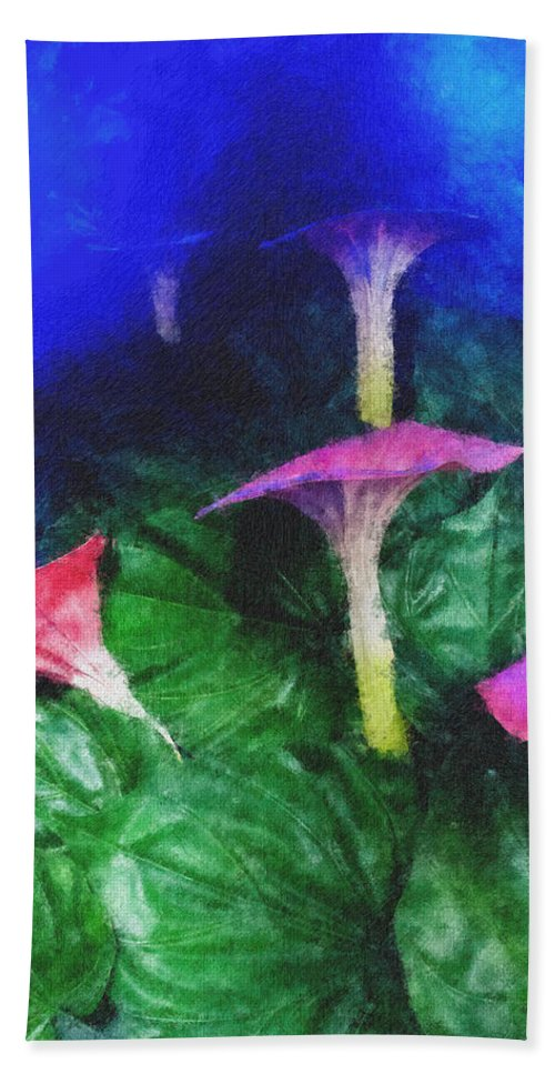 Asia Bath Sheet featuring the photograph Fantasy Flowers Pastel Chalk 2 by David Lange