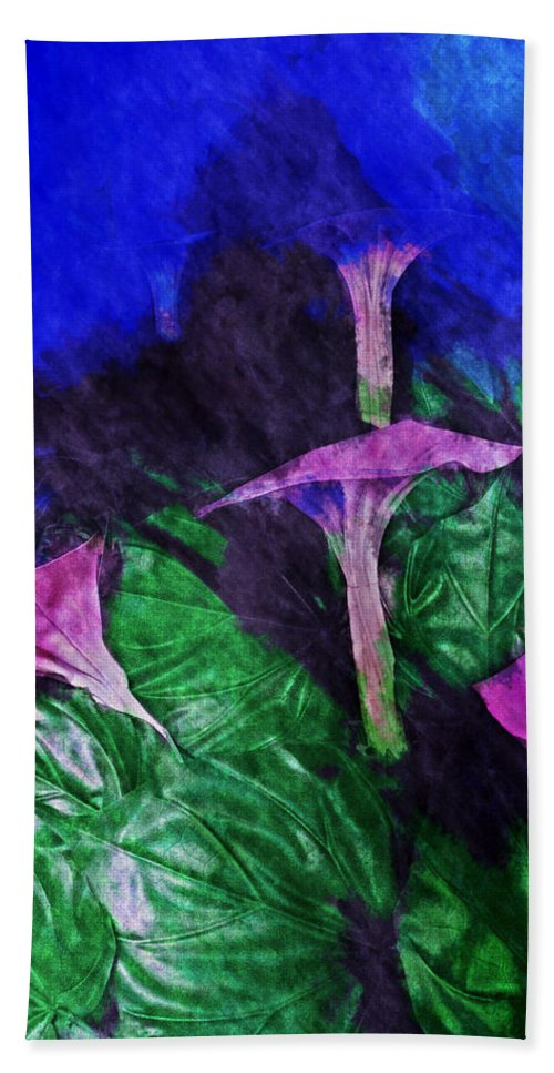 Asia Hand Towel featuring the digital art Fantasy Flowers Watercolor 2 Hp by David Lange