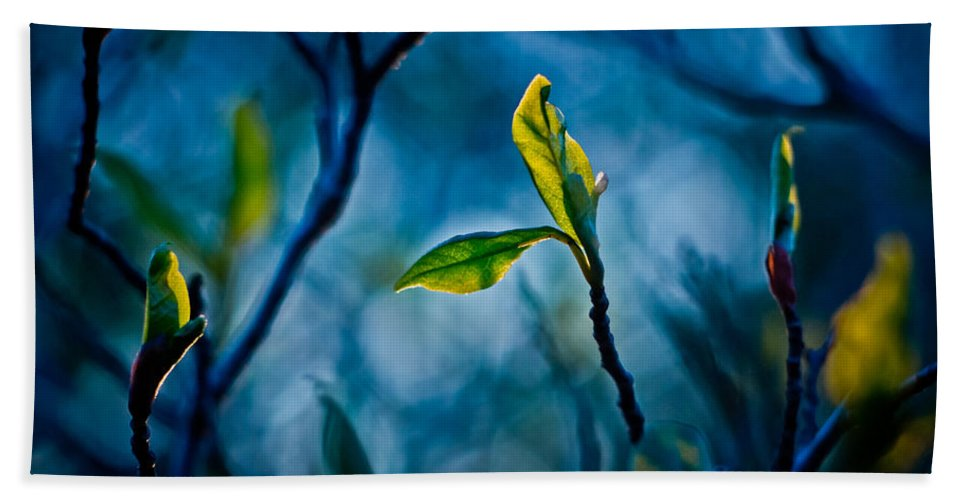 Blue Hand Towel featuring the digital art Fantasy In Blue by Linda Unger