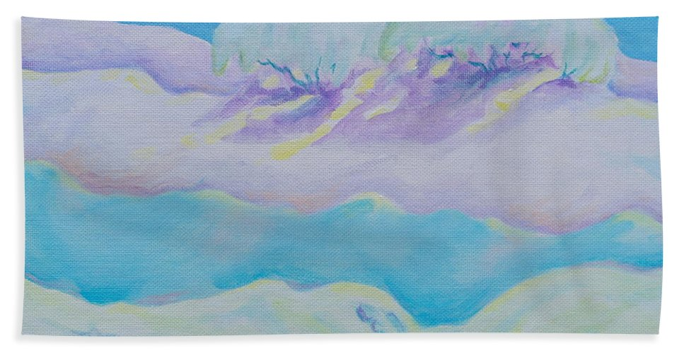 Acrylics Hand Towel featuring the painting Fantasy Snowscape by Michele Myers