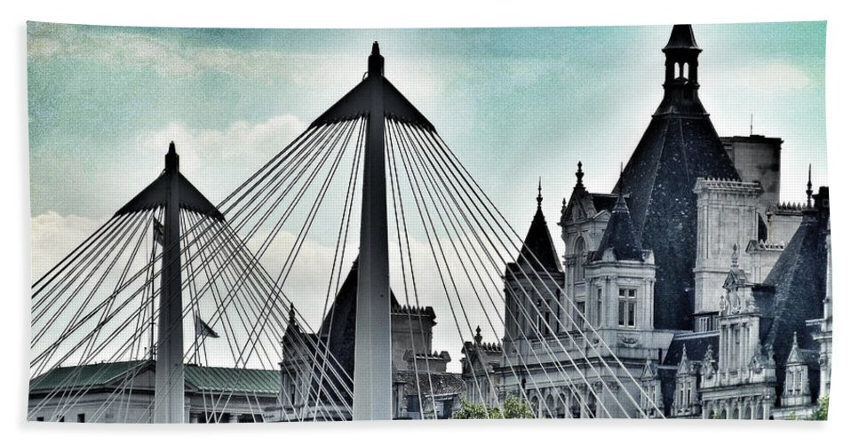 Charing Cross Bridge Hand Towel featuring the photograph Fantasy London . Old Spires New by Connie Handscomb
