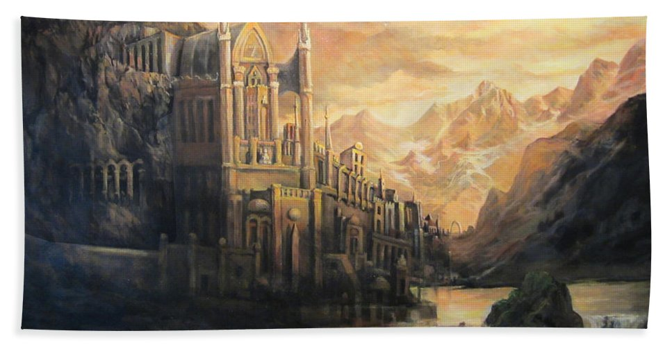 Fantasy Bath Sheet featuring the painting Fantasy Study by Donna Tucker