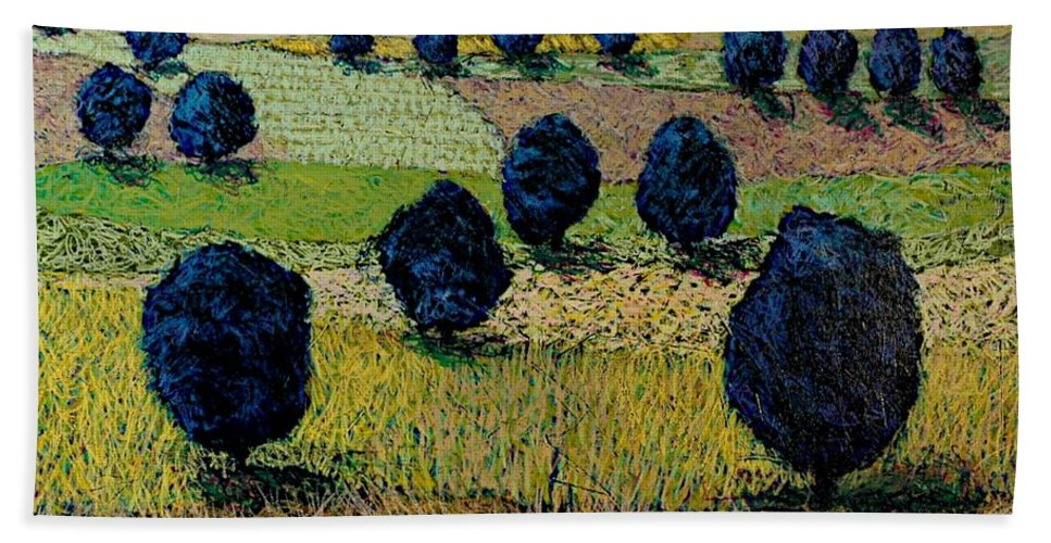 Landscape Hand Towel featuring the painting Faraway Field by Allan P Friedlander