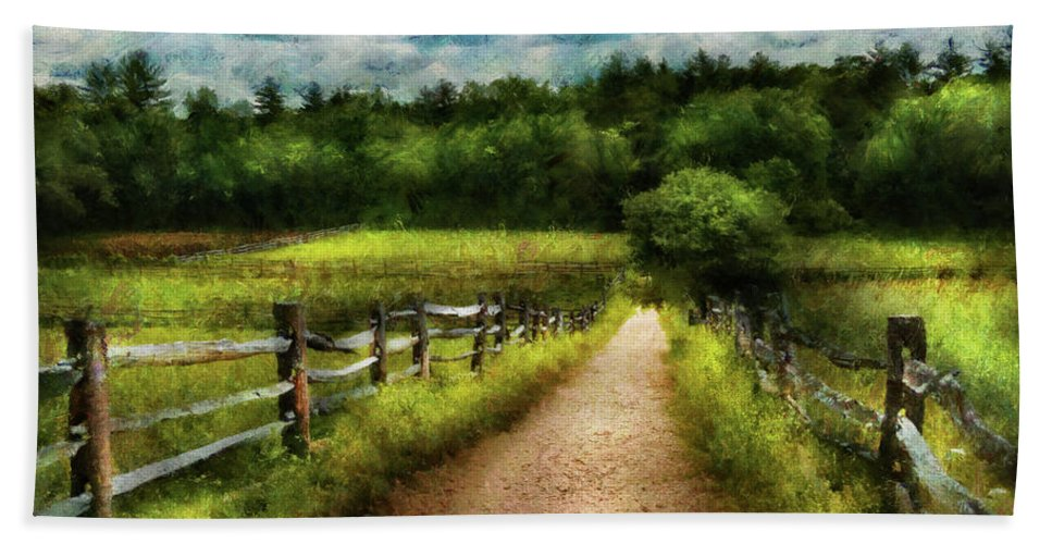Suburbanscenes Bath Sheet featuring the photograph Farm - Fence - Every Journey Starts With A Path by Mike Savad