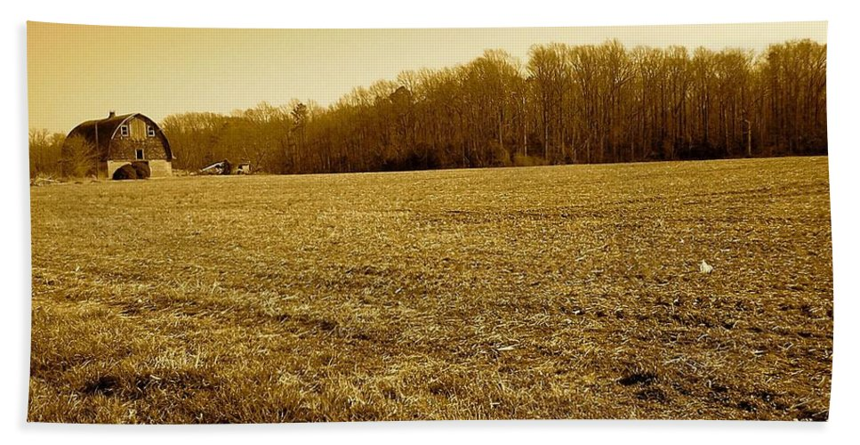 Farm Bath Sheet featuring the photograph Farm Field With Old Barn In Sepia by Chris W Photography AKA Christian Wilson