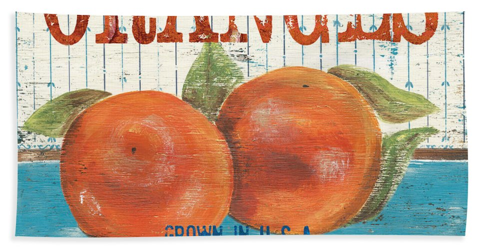 Food Bath Towel featuring the painting Farm Fresh Fruit 2 by Debbie DeWitt