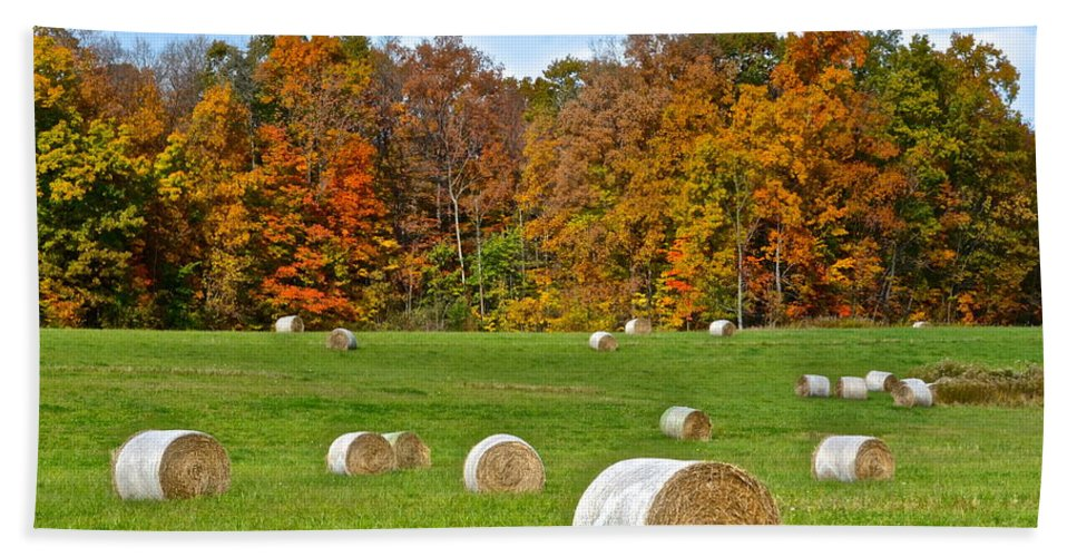 Farm Hand Towel featuring the photograph Farm Fresh Hay by Frozen in Time Fine Art Photography