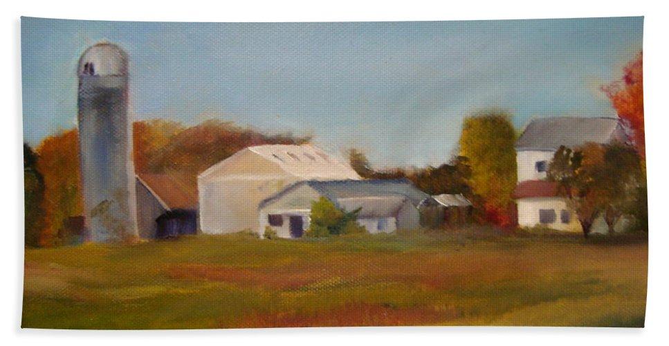 Farm Silo. Plein Aire Hand Towel featuring the painting Farm by Sheila Mashaw
