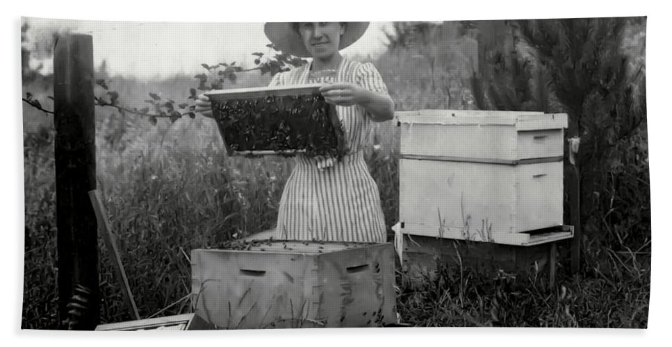 Bees Hand Towel featuring the photograph FARM WIFE BEEKEEPER 19th century by Daniel Hagerman