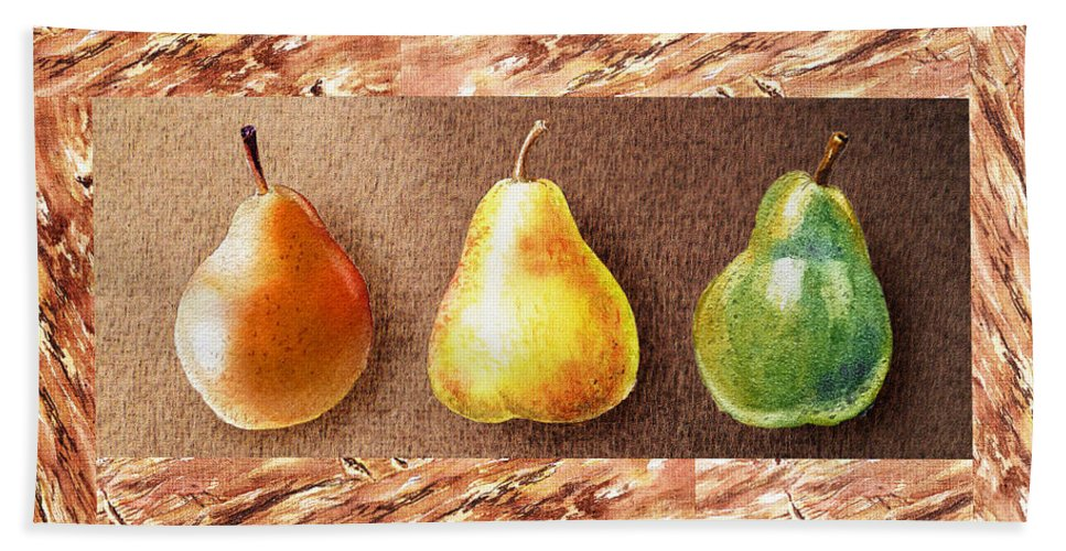 Pear Hand Towel featuring the painting Farmers Market Drive Through Red Yellow And Green Pear by Irina Sztukowski