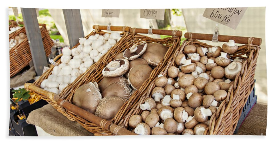 Market Hand Towel featuring the photograph Farmers Market Mushrooms by Sophie McAulay