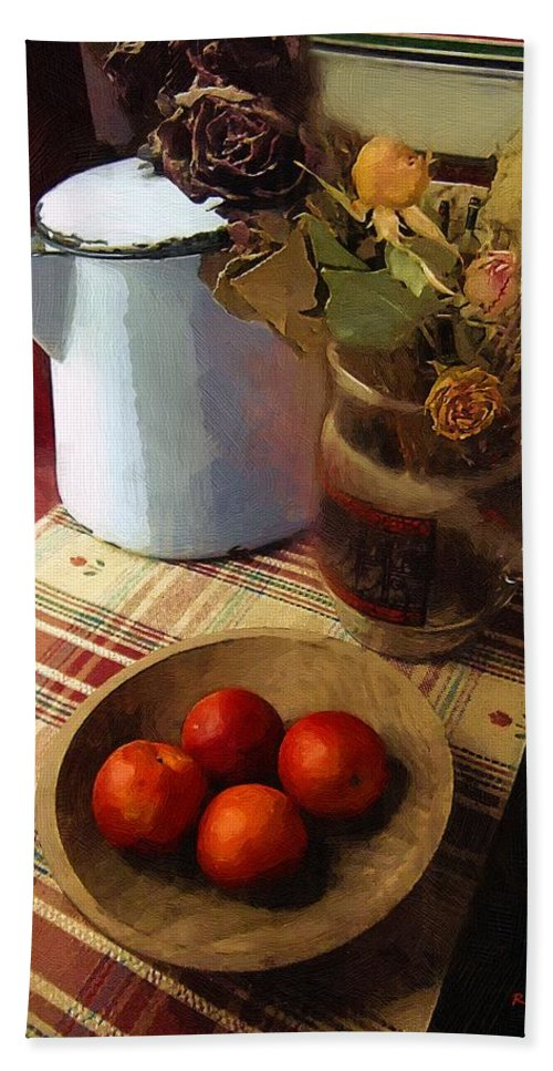 Still Life Bath Sheet featuring the painting Farmhouse Fruit And Flowers by RC DeWinter