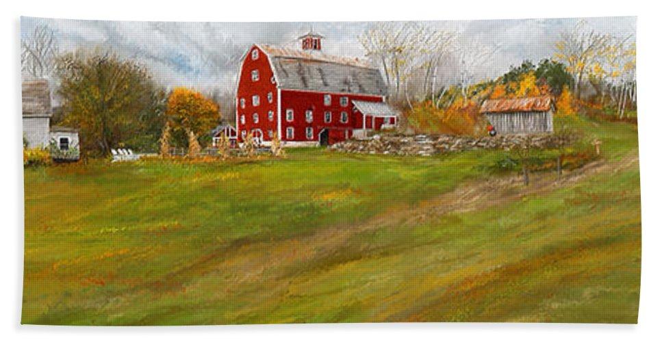 Farmhouse At Robinson Farm Bath Sheet featuring the painting Red Barn Art- Farmhouse Inn At Robinson Farm by Lourry Legarde
