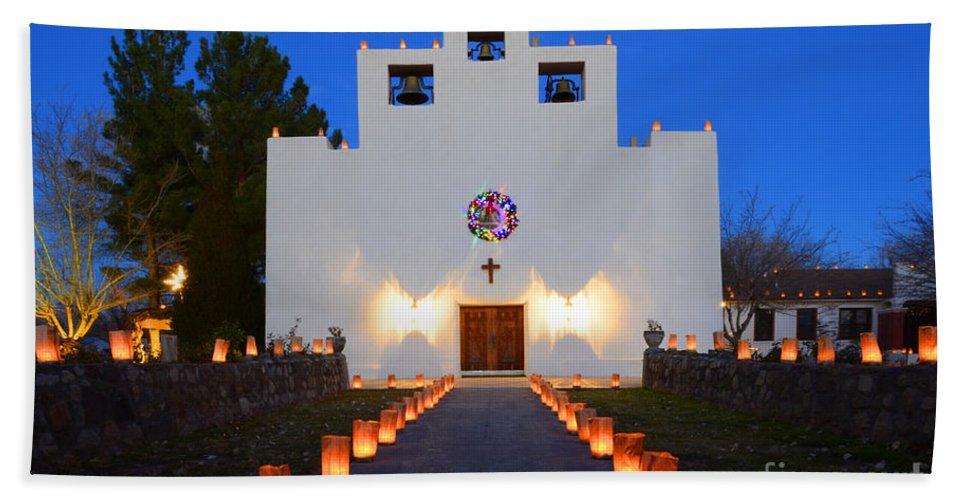 Saint Francis De Paula Mission Hand Towel featuring the photograph Farolitos Saint Francis De Paula Mission by Bob Christopher