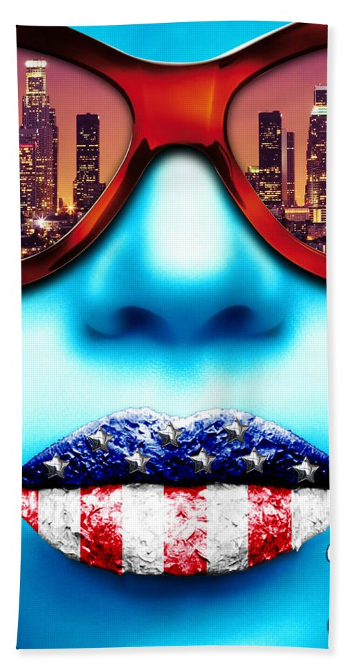 Face Hand Towel featuring the digital art Fashionista Los Angeles Silver by Jean raphael Fischer