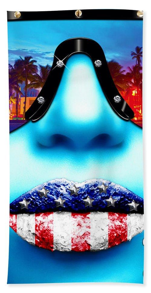 Miami Hand Towel featuring the digital art Fashionista Miami Blue by Jean raphael Fischer