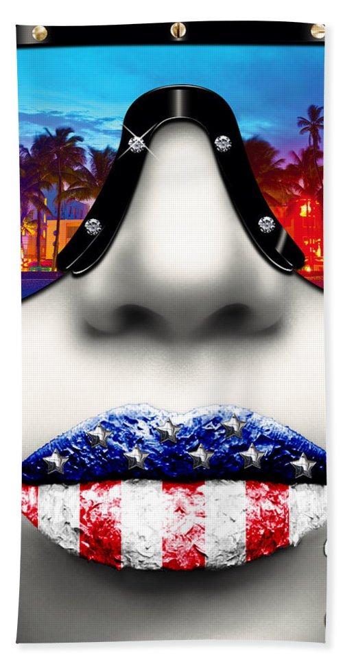 Miami Hand Towel featuring the digital art Fashionista Miami Silver by Jean raphael Fischer
