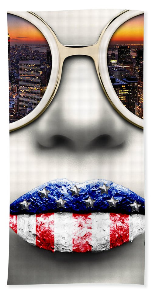 Face Hand Towel featuring the digital art Fashionista New York Silver by Jean raphael Fischer