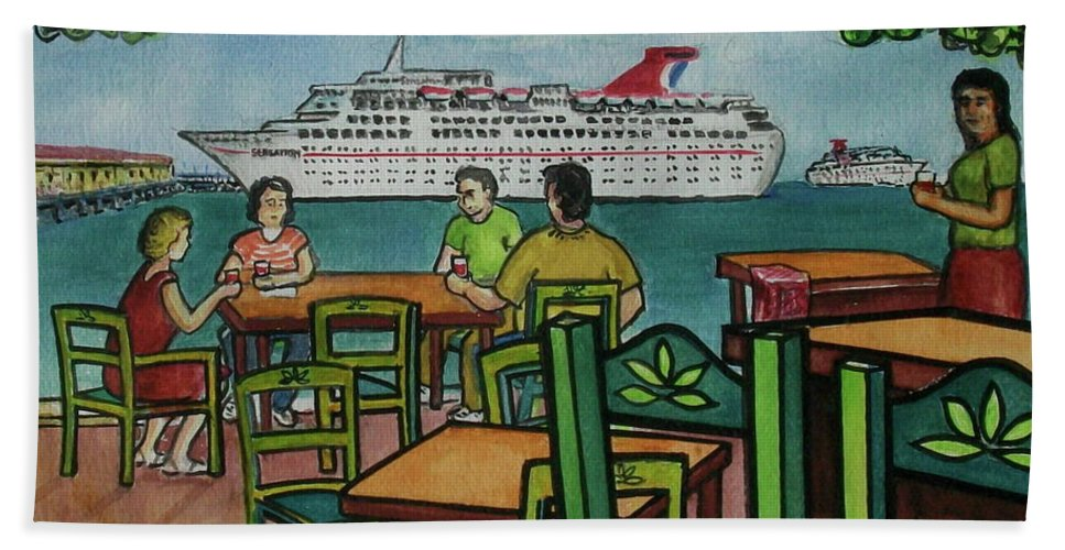 Carnival Cruise Ship Tables Chairs Deck Fat Tuesday Mexico Yucatan Bath Sheet featuring the painting Fat Tuesdays In Cozumel Yucatan Mexico by Frank Hunter