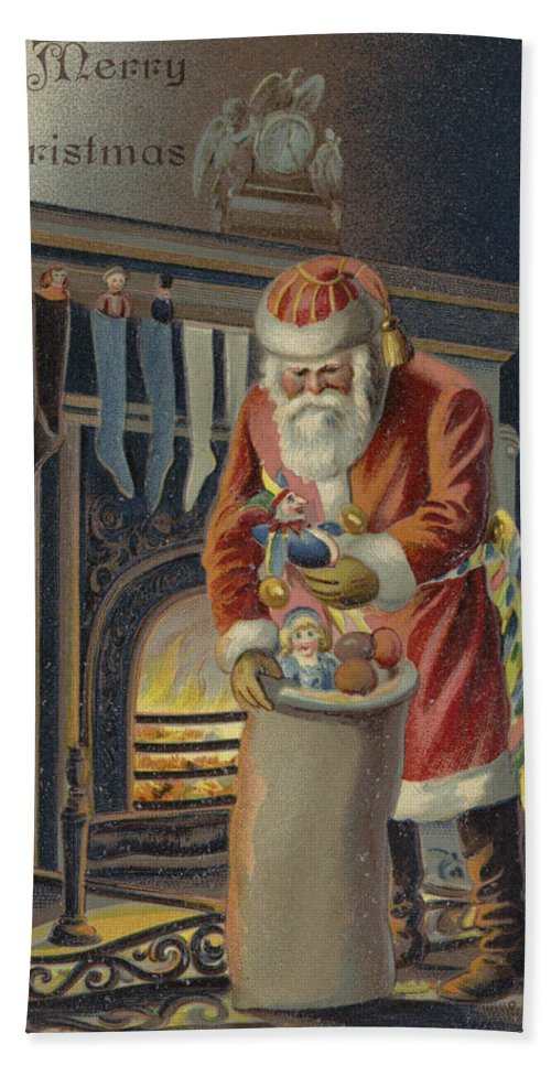 Postcard; Father Christmas; Santa Claus; Presents; Sack; Stocking; Fire; Place; Grate; Clock; Filling; Children; Stockings; Christmas Hand Towel featuring the painting Father Christmas Filling Children's Stockings by English School