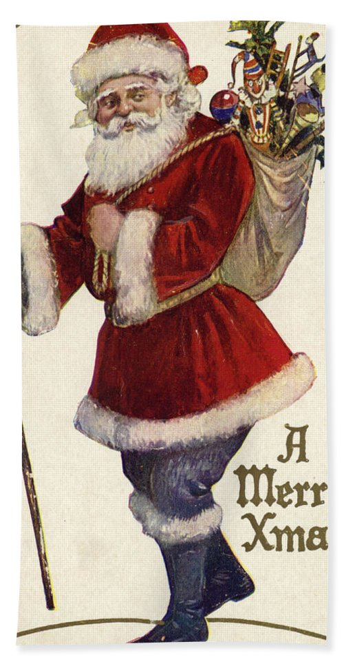 Postcard; Father Christmas; Bag; Toys; Santa Claus; Stick; Presents Hand Towel featuring the painting Father Christmas With A Bag Of Toys by English School