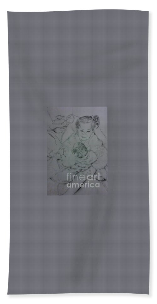 Acrylics Hand Towel featuring the drawing Father's Loves by Keith OBrien Simms