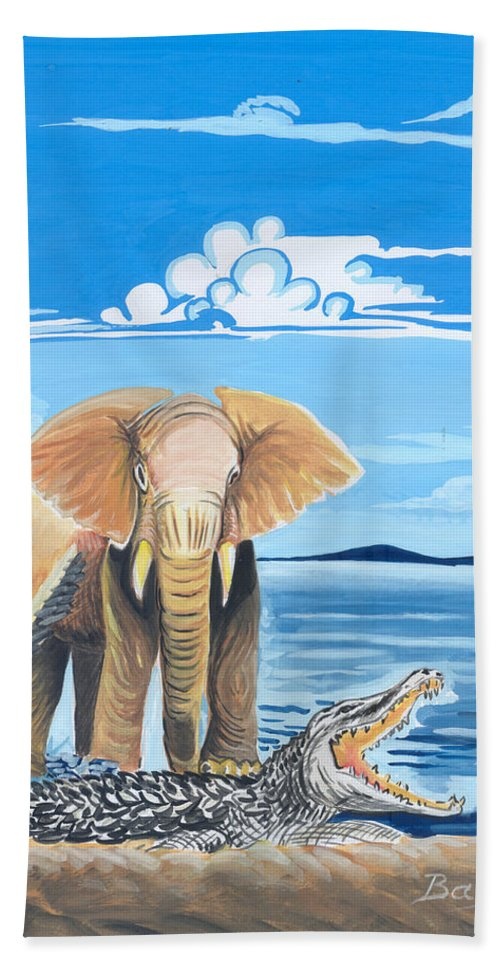 Africa Hand Towel featuring the painting Faune D'afrique Centrale 02 by Emmanuel Baliyanga