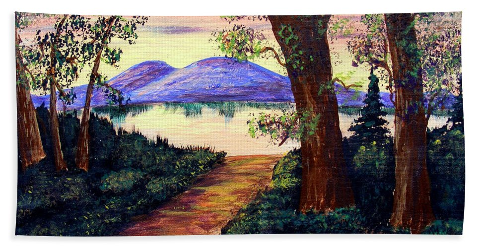 Barbara Griffin Bath Sheet featuring the painting Favorite Fishing Spot by Barbara Griffin