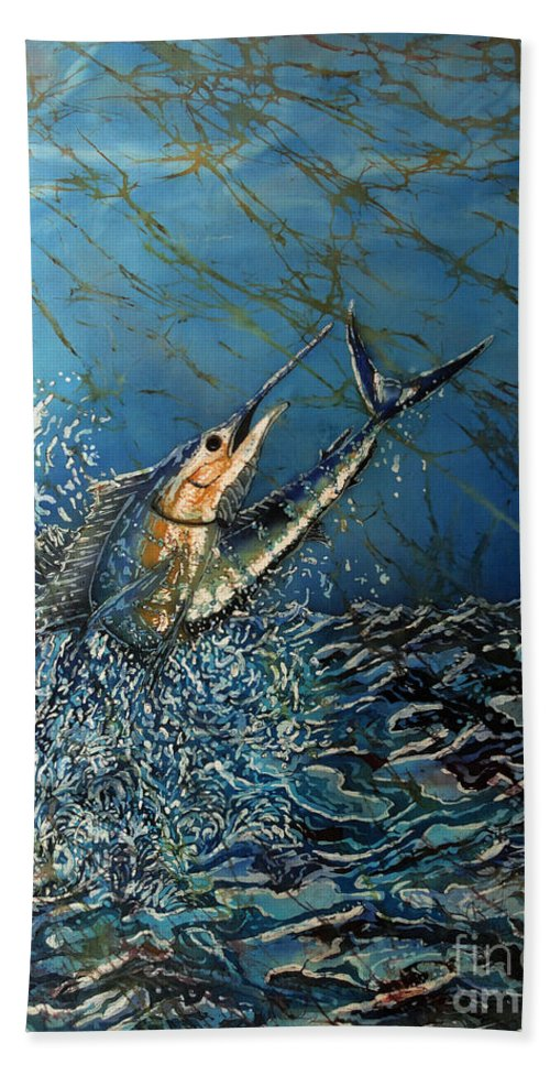 Sailfish Hand Towel featuring the tapestry - textile Fearless by Sue Duda