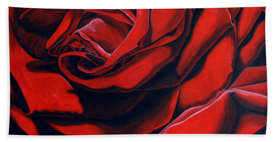 Rose Bath Sheet featuring the painting February Rose by Thu Nguyen