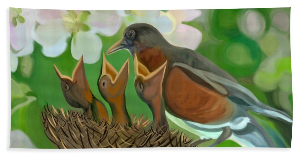 Birds Hand Towel featuring the painting Feed Me Momma by Susanna Katherine