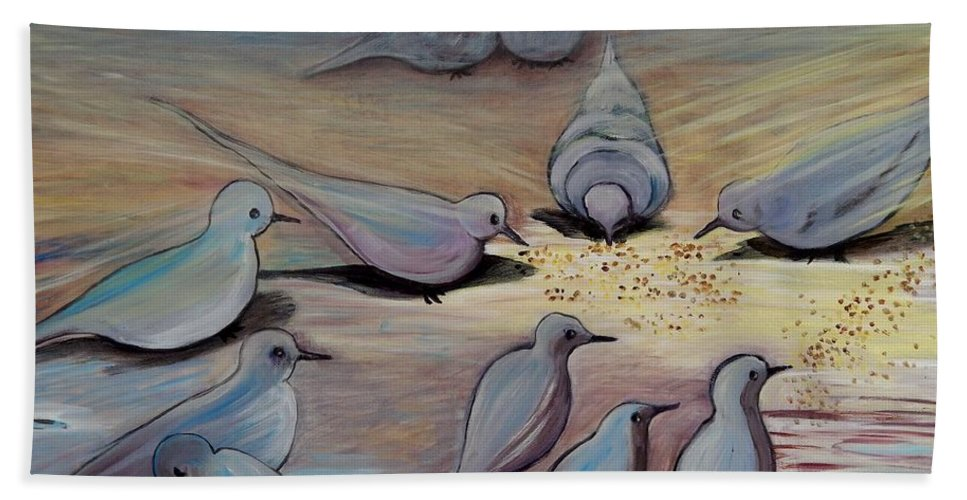 Birds Bath Sheet featuring the painting Feed The Birds by Caroline Street
