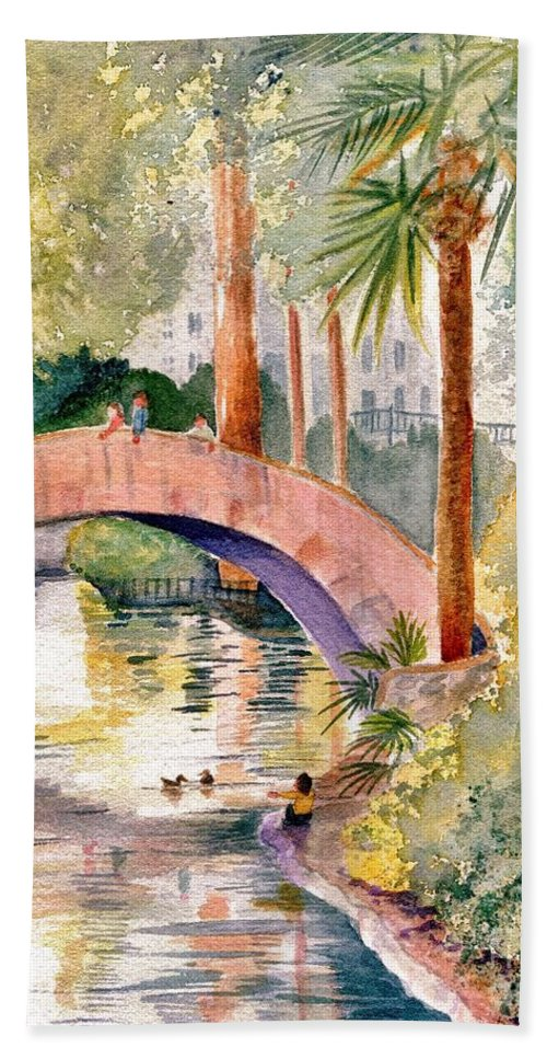 River Bath Sheet featuring the painting Feeding The Ducks by Marilyn Smith