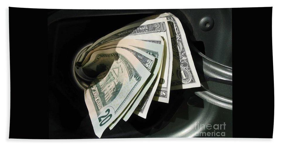 Car Hand Towel featuring the photograph Feeding The Gas Tank by Ann Horn