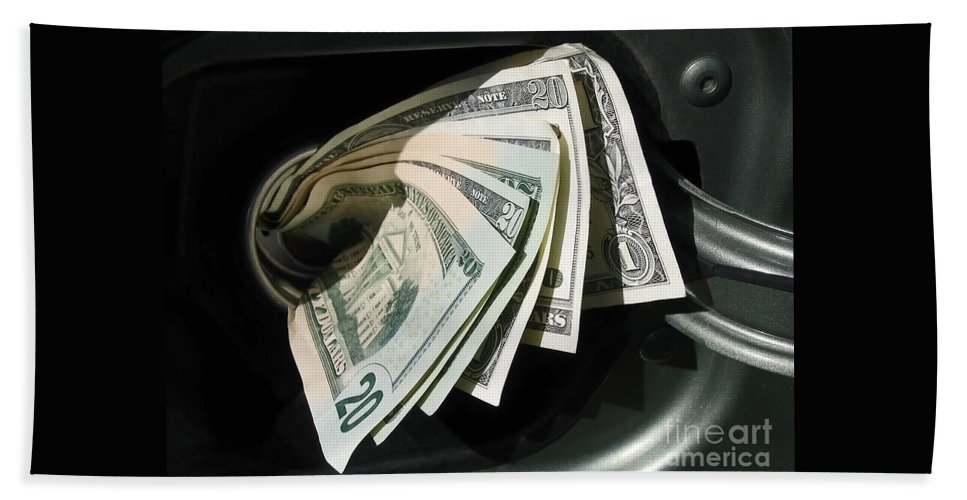 Car Bath Sheet featuring the photograph Feeding The Gas Tank by Ann Horn